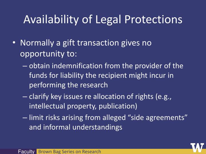 Availability of Legal Protections
