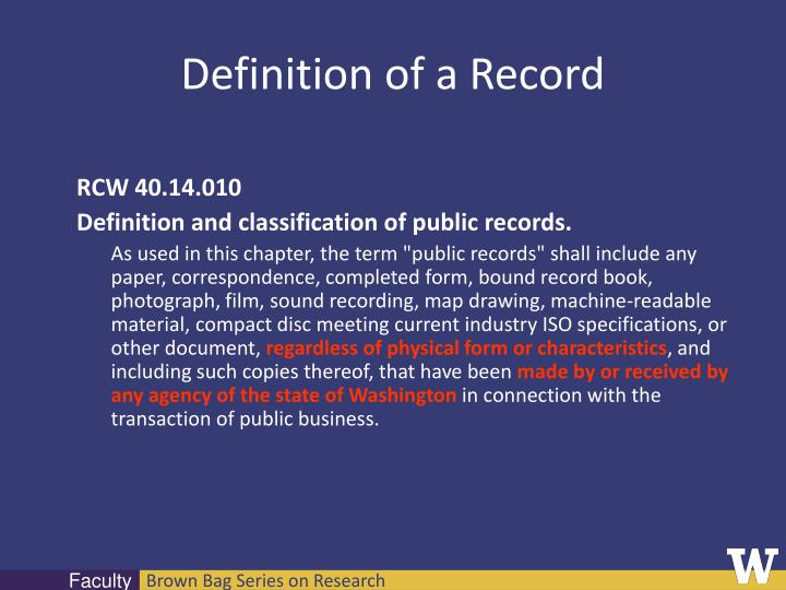 Definition of a Record
