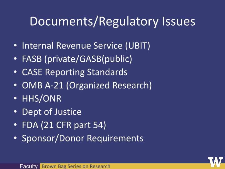 Documents/Regulatory Issues