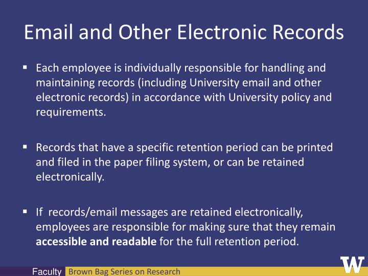 Email and Other Electronic Records