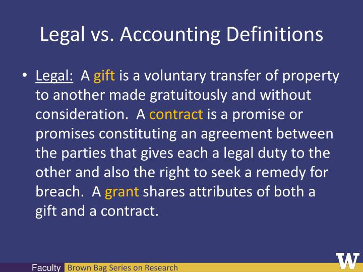 Legal vs. Accounting Definitions