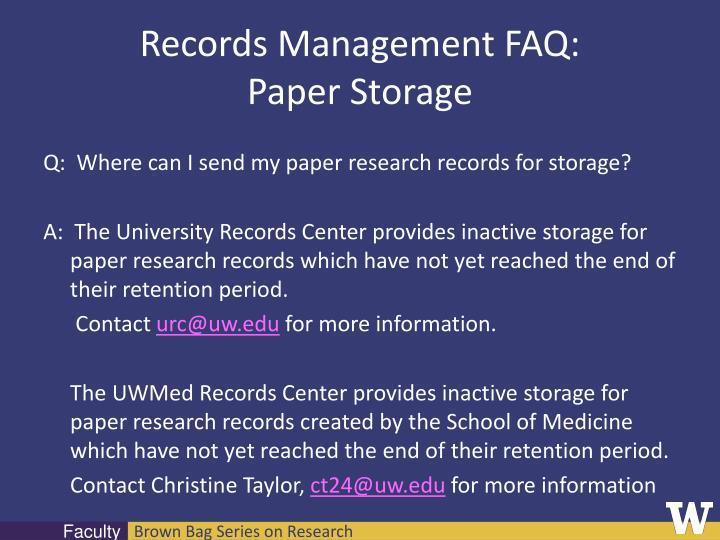 Records Management FAQ: