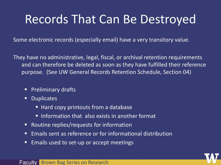 Records That Can Be Destroyed