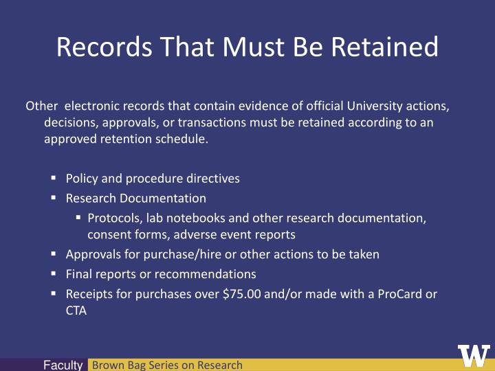 Records That Must Be Retained