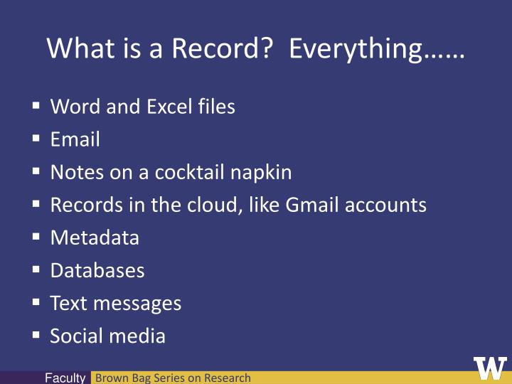What is a Record?  Everything……