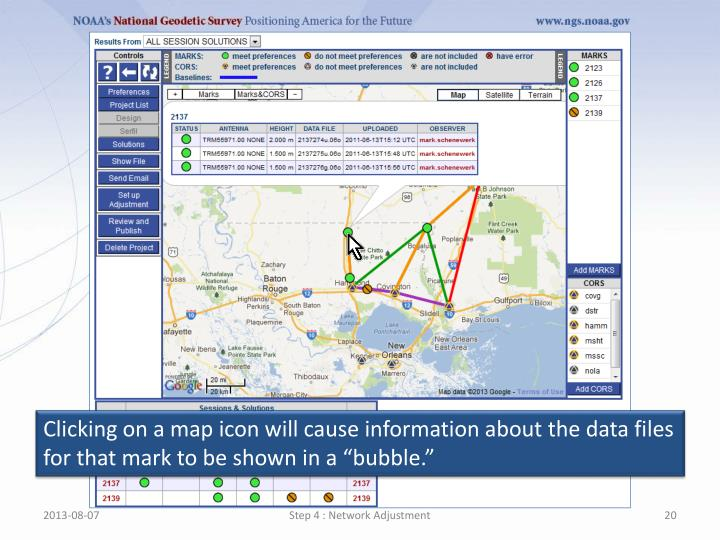 """Clicking on a map icon will cause information about the data files for that mark to be shown in a """"bubble."""""""