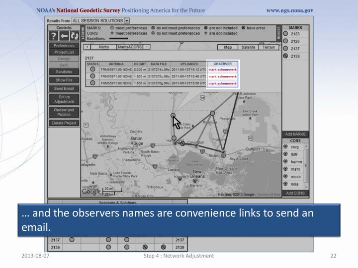 … and the observers names are convenience links to send an email.