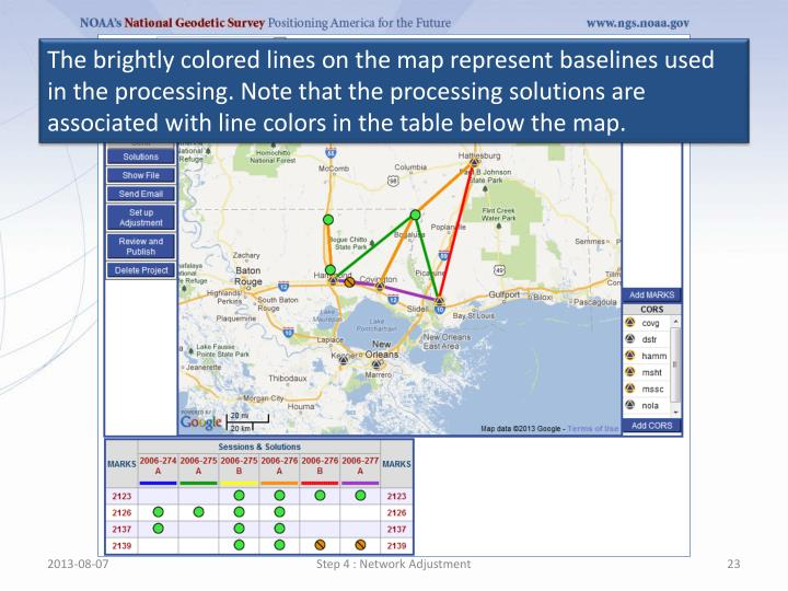 The brightly colored lines on the map represent baselines used in the processing. Note that the processing solutions are associated with line colors in the table below the map.