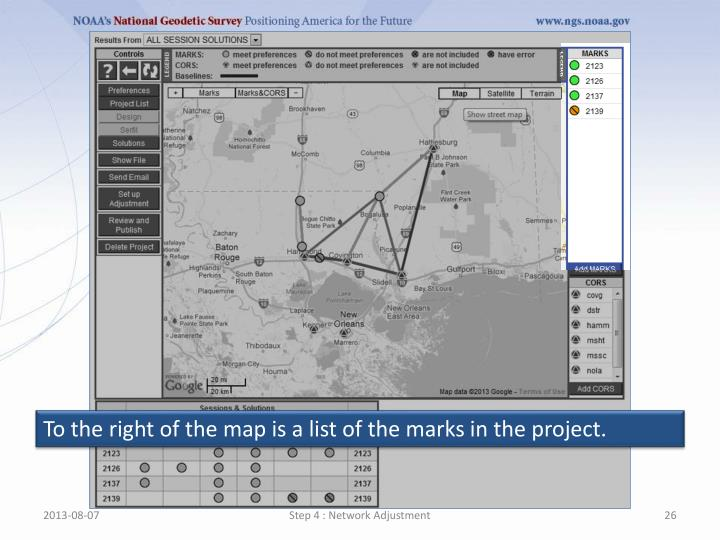 To the right of the map is a list of the marks in the project.