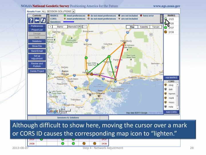 """Although difficult to show here, moving the cursor over a mark or CORS ID causes the corresponding map icon to """"lighten."""""""