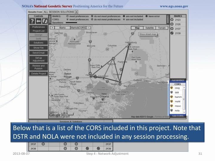 Below that is a list of the CORS included in this project. Note that DSTR and NOLA were not included in any session processing.