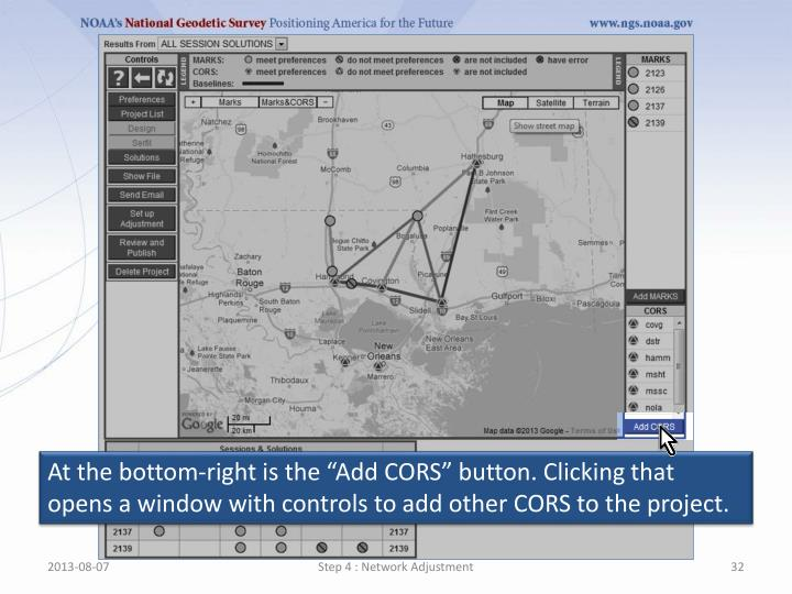 """At the bottom-right is the """"Add CORS"""" button. Clicking that opens a window with controls to add other CORS to the project."""