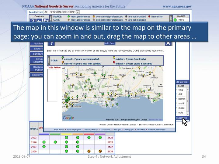 The map in this window is similar to the map on the primary page: you can zoom in and out, drag the map to other areas …