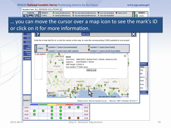 … you can move the cursor over a map icon to see the mark's ID or click on it for more information.