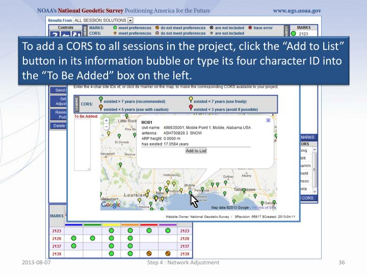 """To add a CORS to all sessions in the project, click the """"Add to List"""" button in its information bubble or type its four character ID into the """"To Be Added"""" box on the left."""