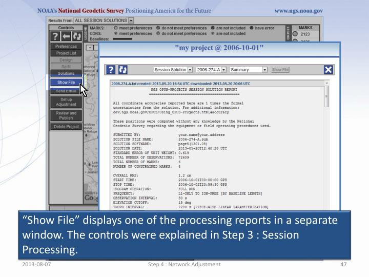 """""""Show File"""" displays one of the processing reports in a separate window. The controls were explained in Step 3 : Session Processing."""