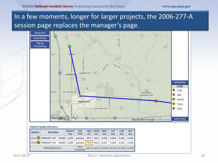 In a few moments, longer for larger projects, the 2006-277-A session page replaces the manager's page.