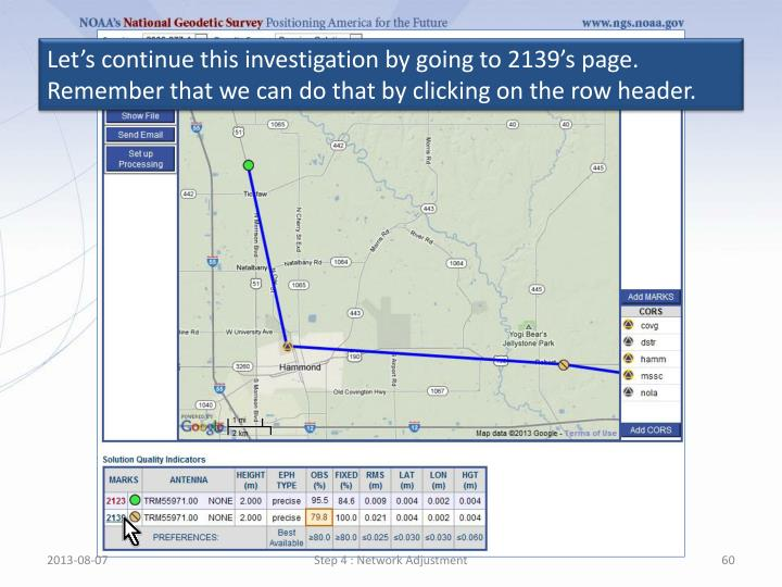 Let's continue this investigation by going to 2139's page. Remember that we can do that by clicking on the row header.