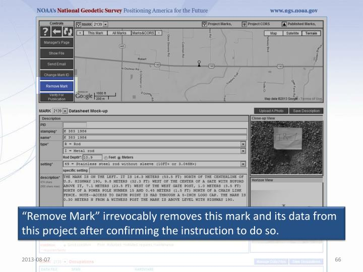 """""""Remove Mark"""" irrevocably removes this mark and its data from this project after confirming the instruction to do so."""