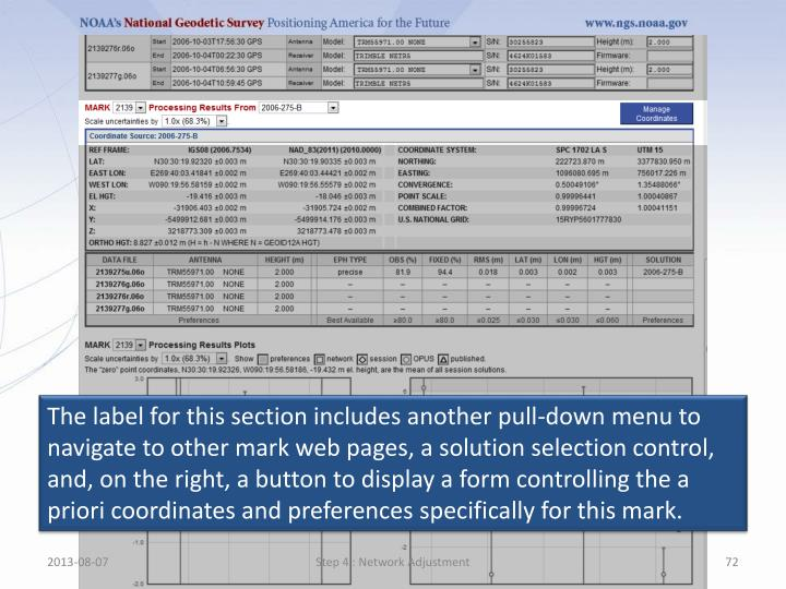 The label for this section includes another pull-down menu to navigate to other mark web pages, a solution selection control, and, on the right, a button to display a form controlling the a priori coordinates and preferences specifically for this mark.