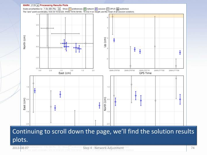 Continuing to scroll down the page, we'll find the solution results plots.