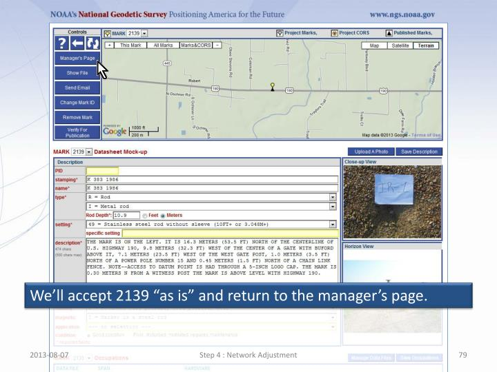 """We'll accept 2139 """"as is"""" and return to the manager's page."""