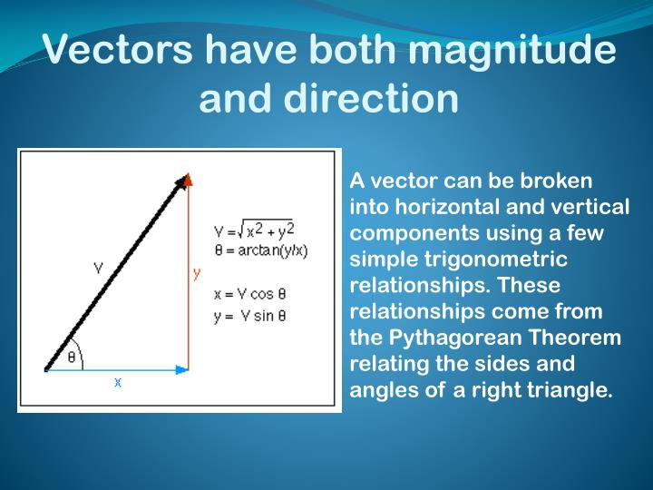 Vectors have both magnitude and direction