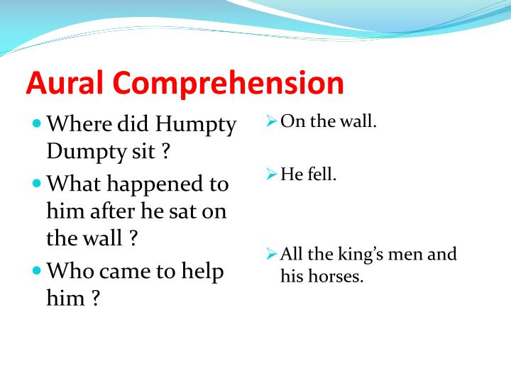 Aural Comprehension