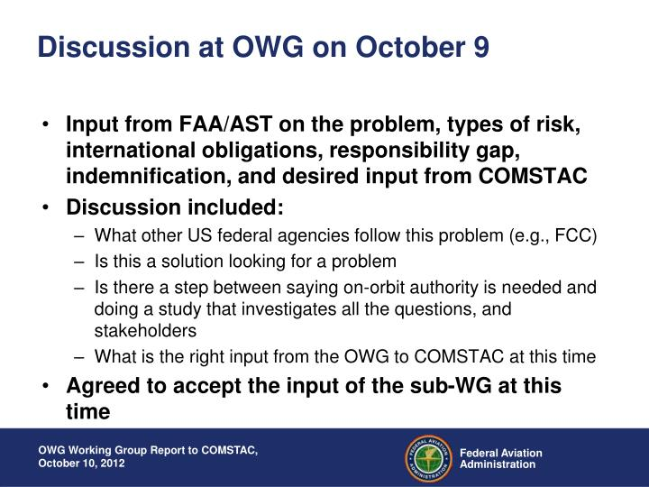 Discussion at OWG on October 9