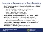 international developments in space operations