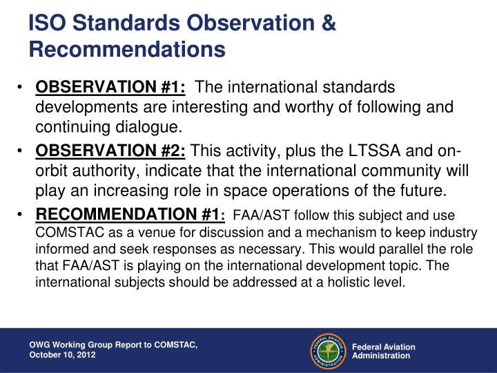 ISO Standards Observation & Recommendations