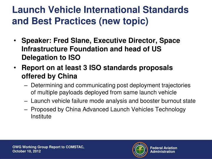 Launch Vehicle International Standards and Best Practices (new topic)