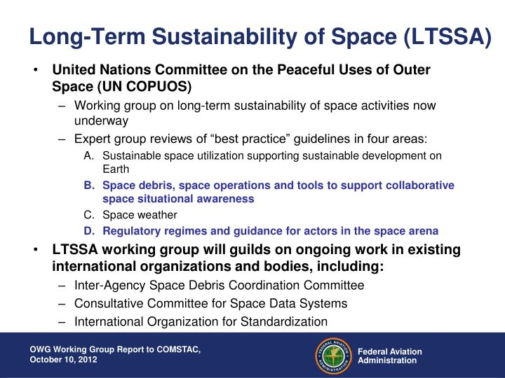 Long-Term Sustainability of Space (LTSSA)