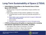 long term sustainability of space ltssa