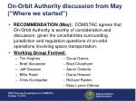 on orbit authority discussion from may where we started