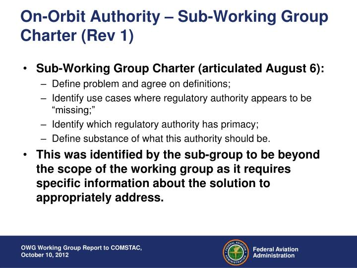On-Orbit Authority – Sub-Working Group Charter (Rev 1)
