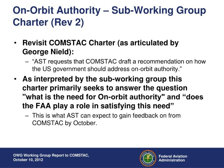 On-Orbit Authority – Sub-Working Group Charter (Rev