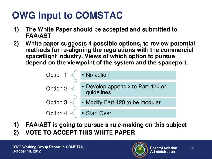 OWG Input to COMSTAC