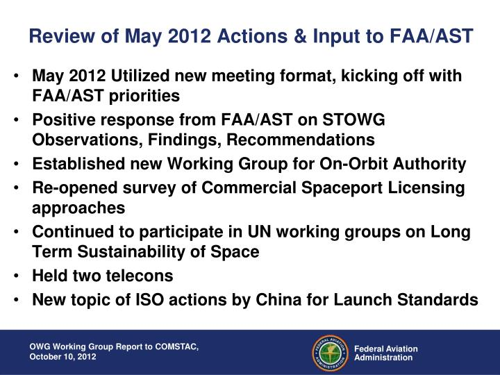 Review of may 2012 actions input to faa ast