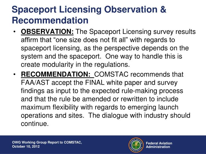 Spaceport Licensing Observation & Recommendation