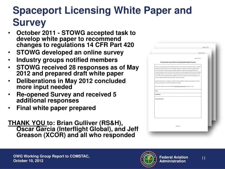 Spaceport Licensing White Paper and Survey