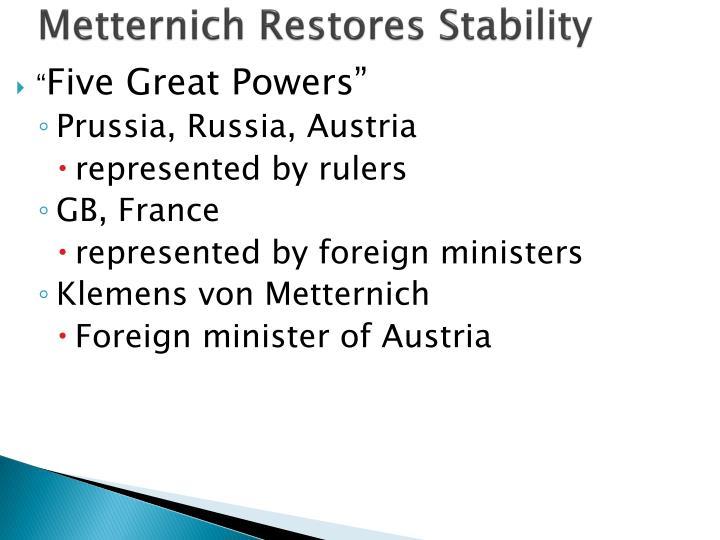 Metternich Restores Stability