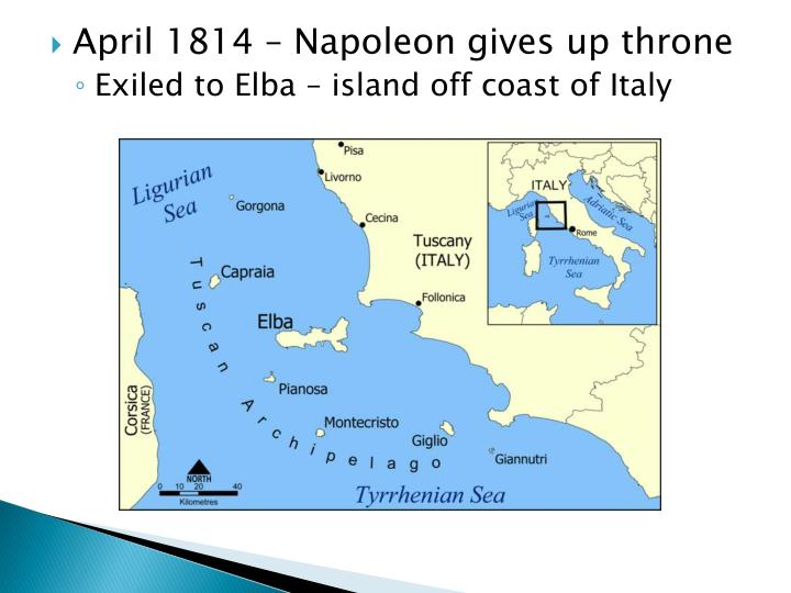 April 1814 – Napoleon gives up throne