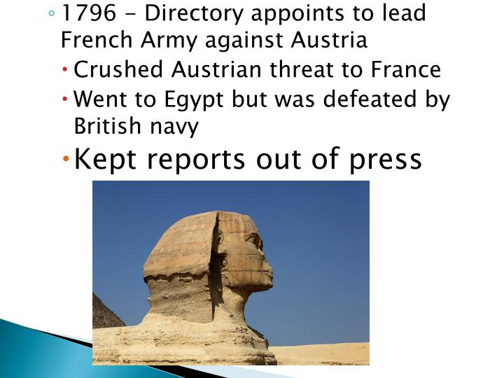 1796 - Directory appoints to lead French Army against Austria