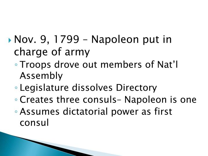 Nov. 9, 1799 – Napoleon put in charge of army