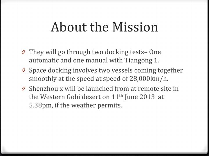 About the Mission