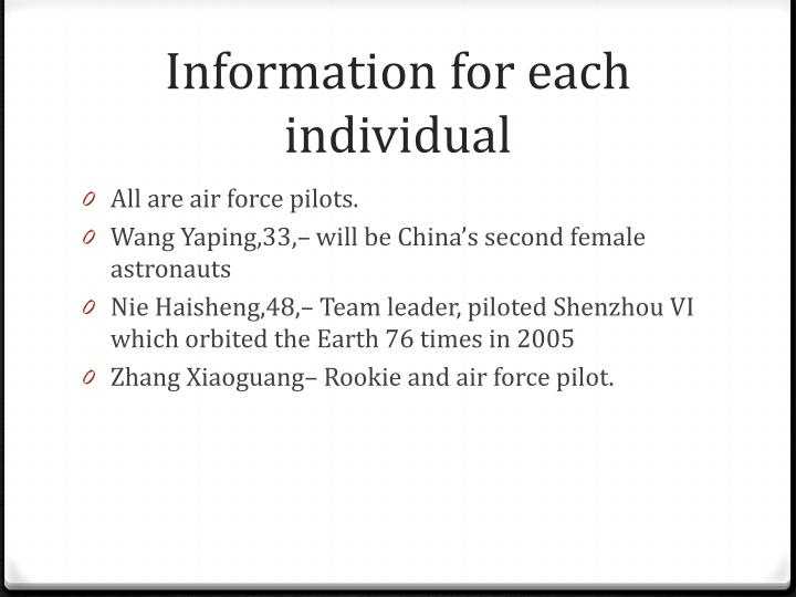 Information for each individual