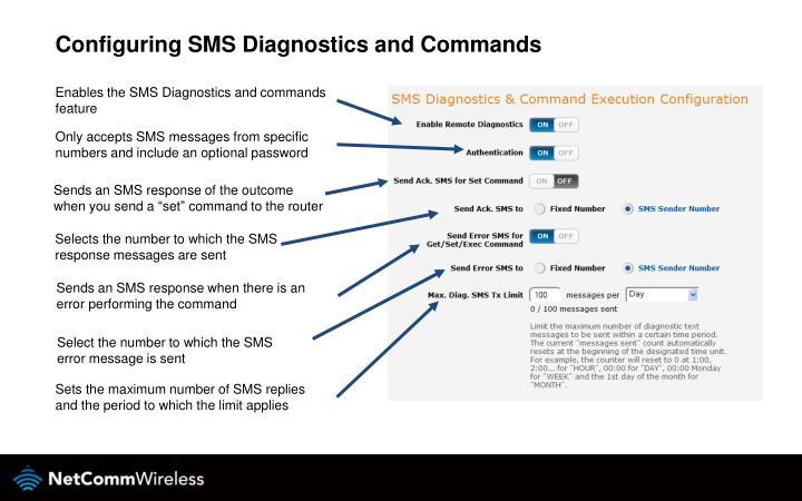 Configuring SMS Diagnostics and Commands