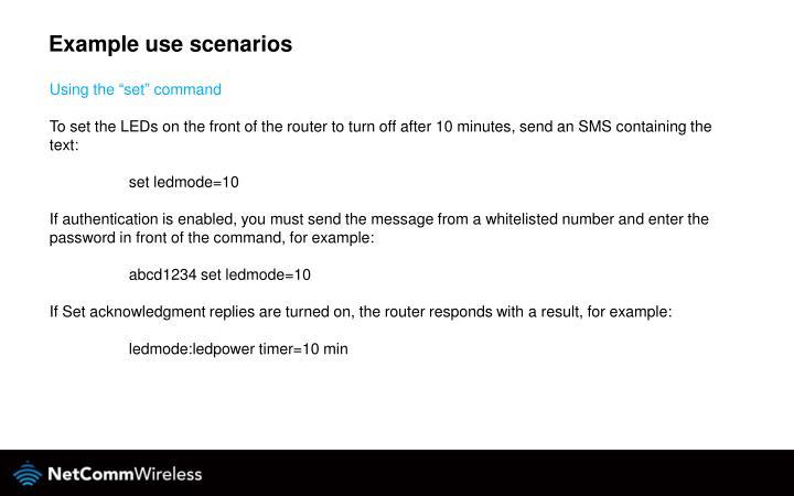 Example use scenarios