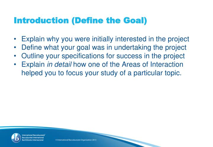 Introduction (Define the Goal)